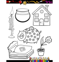 Cartoon home objects coloring page vector