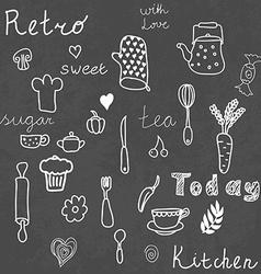 Vintage kitchen set on chalkboard design elements vector