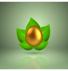 Golden egg in green leaves vector