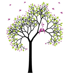 Spring tree with love birds vector