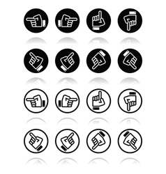 Pointing hand - up down across round icon vector
