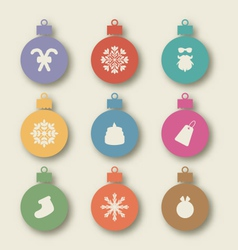 Set christmas balls with traditional elements - vector