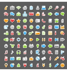 Set of 100 sticker icons vector