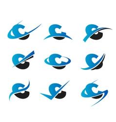 Alphabet c logo icons vector