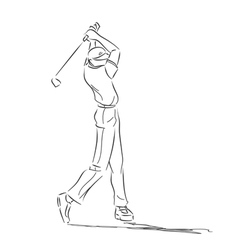 Symbolical drawing with golfer in movement vector