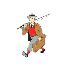 Vintage tourist fly fisherman luggage cartoon vector