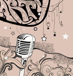 Abstract microphone background vector