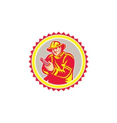 Fireman firefighter aiming fire hose rosette vector