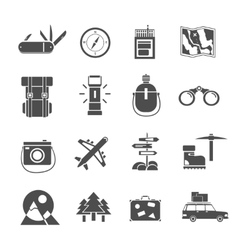 Hiking icons set black vector