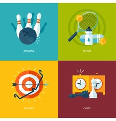 Set of flat design concept icons for sports kinds vector