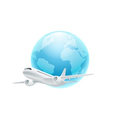 Airplane with the globe isolated on white backgrou vector