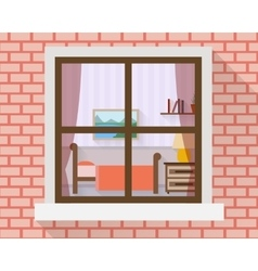 Bedroom through the window vector