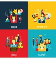 Leadership in business icons set vector