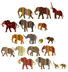 Set of patterned elephants in ethnic style vector