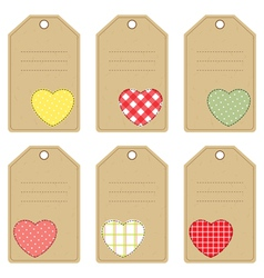 Gift tags with hearts vector