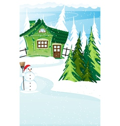 Brick house and snowman with santa hat vector