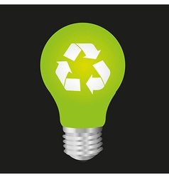 Ecological bulb isolated on black background vector