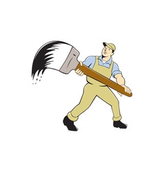 House painter giant paintbrush isolated cartoon vector