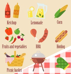 Elements of a barbecue party vector