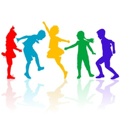 Colored silhouettes of happy children playing vector