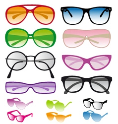 Set of colorful sunglasses vector