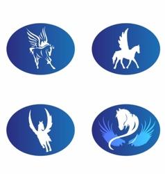 Horse wings logo symbol vector