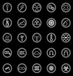 Warning sign line icons on black background vector