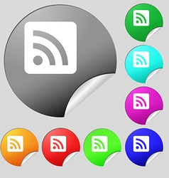 Rss feed icon sign set of eight multi-colored vector