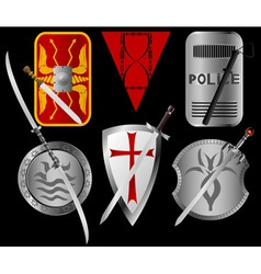 Set of shields and swords vector