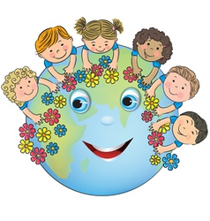 Children hugging planet earth vector