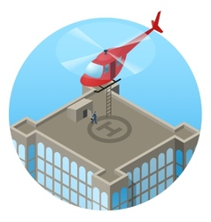 Vip landing in helicopter on skyscraper roof vector