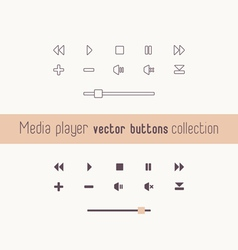 Media player linear icons collection vector