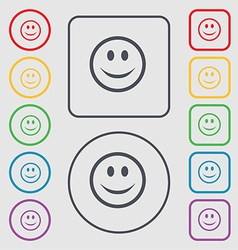 Smile happy face icon sign symbol on the round and vector