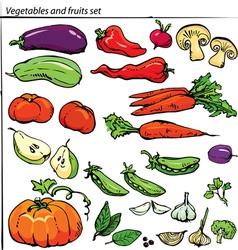 Set of delicious vegetables and fruits vector