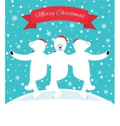 Three polar bears dancing vector