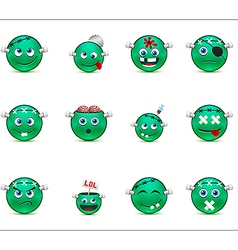 Series of green smilies style zombies vector