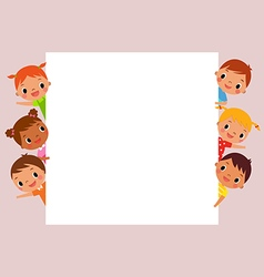 Children behind blank sign vector
