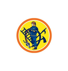 Fireman firefighter fire hose ladder circle vector