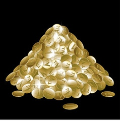 Pile of gold coins isolated on black background vector