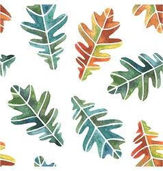 Watercolor oak leaves seamless pattern vector