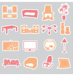 Living room stickers set eps10 vector
