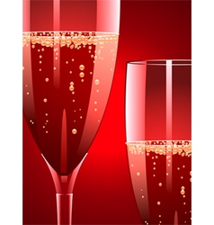 Champagne flutes on a red background vector