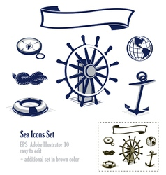 Sea and nautical icons set vector