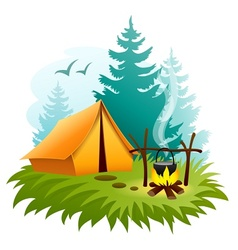 Camping in forest with tent vector