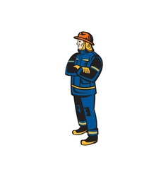 Fireman firefighter folding arms retro vector