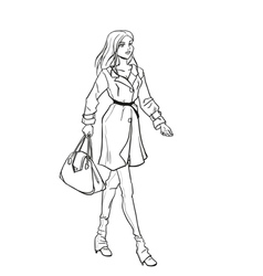 Monochromatic picture with lady in autumn clothes vector