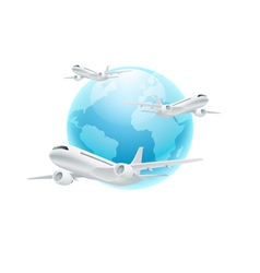 Airplanes with the globe isolated on white vector