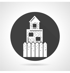 Defence wall black round icon vector