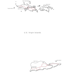 Us virgin islands black white map with major citie vector