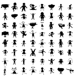 Set of hand drawn children silhouettes vector